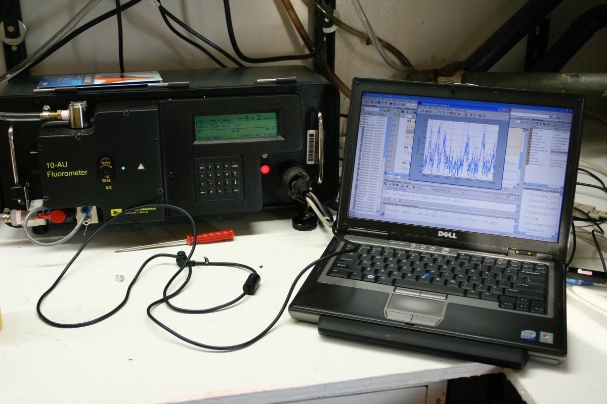 Fluorometer for mapping dye plumes